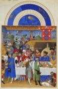 Monat Januar  mit Sternzeichen aus dem Stundenbuch des Herzogs von Berry