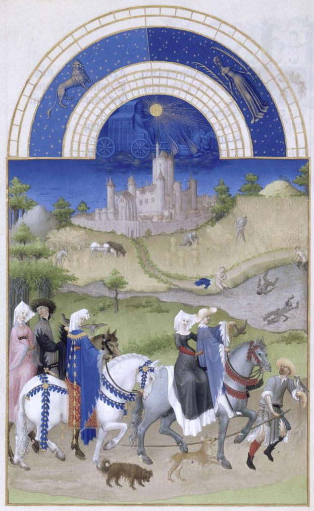 Monat August  mit Sternzeichen aus dem Stundenbuch des Herzogs von Berry