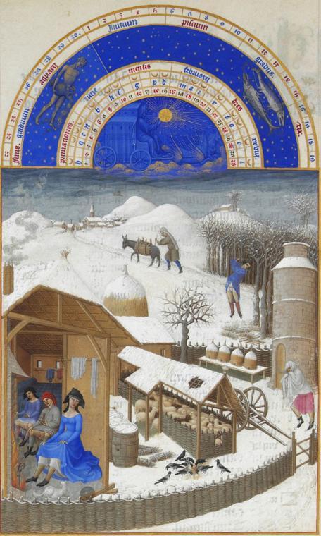 Monat Februar  mit Sternzeichen aus dem Stundenbuch des Herzogs von Berry