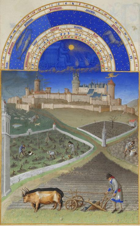 Monat März  mit Sternzeichen aus dem Stundenbuch des Herzogs von Berry