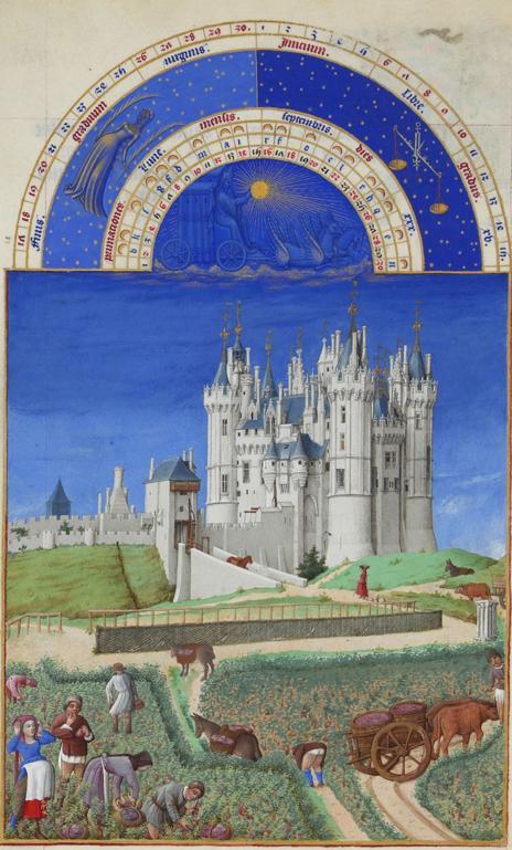 Monat September  mit Sternzeichen aus dem Stundenbuch des Herzogs von Berry