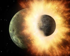 Noch immer  wissen wir nicht genau, wie der Mond entstand. Die Einschlag-Theorie (Kollisionshypothese) hat nun eine neue Variante bekommen.